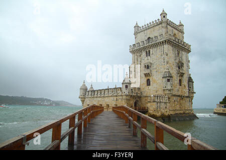 ​Lisbon, Portugal, 5 October, 2015. Entrance to the Belém Tower that located on the banks of the mouth of the - Stock Image