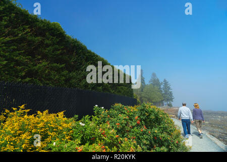Couple taking a walk on Shore Path in Bar Harbor, Maine, USA. - Stock Image