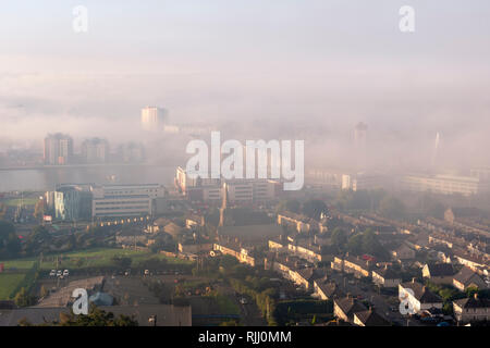 Overview of Swansea City including Marina Meridian Quay Swansea Wales in the mist - Stock Image