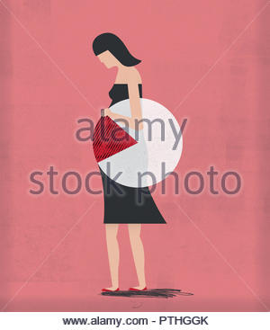 Pie chart over pregnant woman - Stock Image