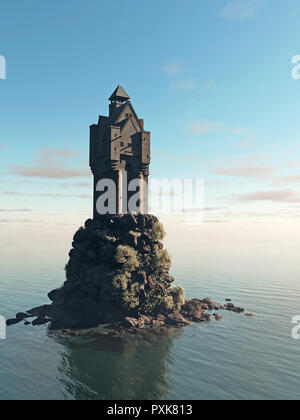 Medieval Tower House Castle on a Rocky Island - Stock Image