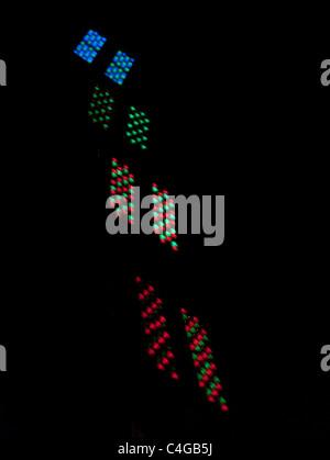Coloured lights which control the illumination of the Gateshead Millenium Bridge - Stock Image