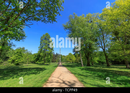 The iconic British Columbia Crown Colony Totem Pole in the Valley Gardens at Virginia Water, Windsor Great Park, in Surrey/Berkshire, UK - Stock Image