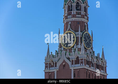 Clock on Spasskaya tower in Moscow Kremlin - Stock Image