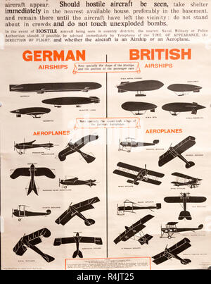 Identification poster for British and German army military aeroplanes and airships of the First World War, Radstock museum, Somerset, England, UK - Stock Image