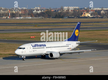 Lufthansa Boeing 737-300 at the Berlin Tegel Airport - Stock Image