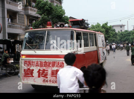 China 1986 propaganda vehicle - Stock Image