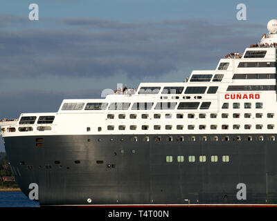 RMS Queen Mary 2 at Southampton Docks, photograph taken from Hythe Marina, Hampshire, England, UK - Stock Image