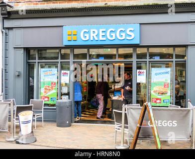 Greggs bakery store in Loughborough, UK. - Stock Image