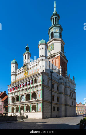 Poznan Town Hall, view of the Renaissance Town Hall building (Ratusz) in Market Square in the Old Town area of Poznan, Poland. - Stock Image