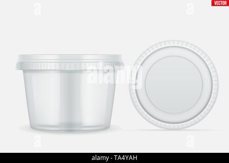 Set of Clear Plastic container for food - Stock Image