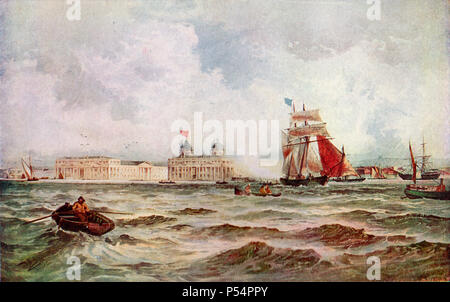 Painting of Greenwich Hospital after T B Handy from the Thames 19th Century - Stock Image