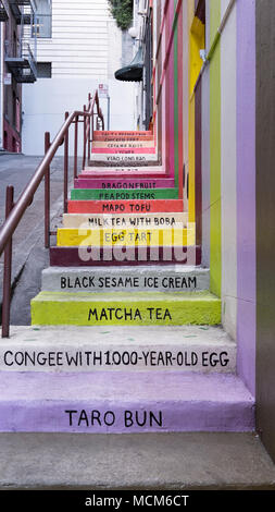 Frontal view of the Vinton Court Steps installation, mural by Erin Jang, known as Chinatown Flavor, part of The Color Factory pop-up, in San Francisco - Stock Image