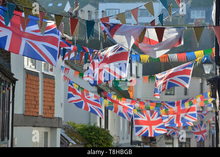Union Jack bunting along Courthouse Street, Old town, Hastings, East Sussex, England, UK - Stock Image