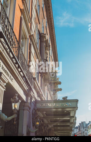 LONDON, UNITED KINGDOM - August 21st, 2018: facade of Fortnum and Mason tea shop in London city centre in Piccadilly - Stock Image