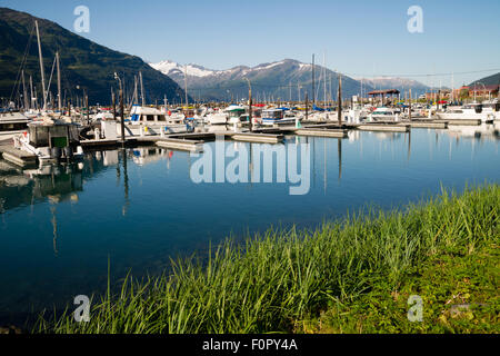 A rare day of sunshine for the mariners of Whittier Alaska - Stock Image