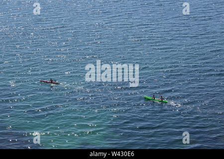 View of two Sea Kayaks from above. Kayaking and canoeing together - Stock Image