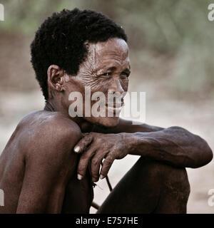 African Kalahari tribesman - Stock Image