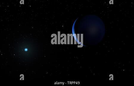 Neptune planet. Space theme. 3D illustration. - Stock Image