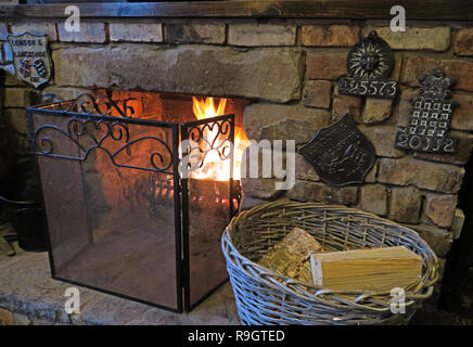 Walton Fireplace and Fire Insurance Marks, Warrington, Cheshire, UK, - Stock Image