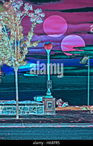 Bay Nocturne photography, digitally adjusted - Stock Image