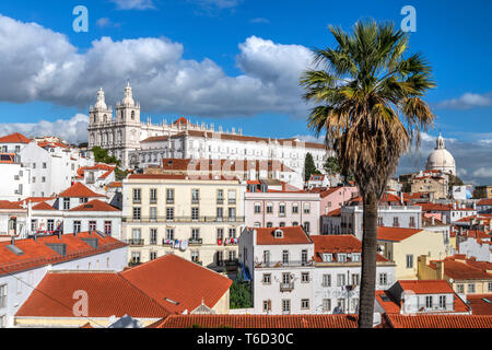 Alfama district skyline, Lisbon, Portugal - Stock Image