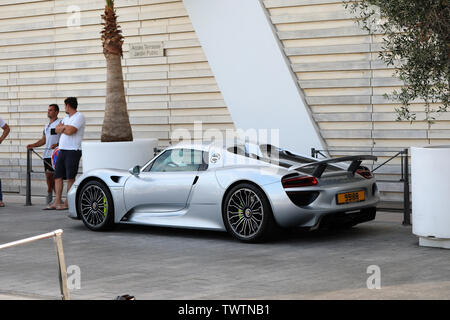 Monte-Carlo, Monaco - June 20, 2019: Porsche 918 Spyder Hybrid Supercar (Side View) Parked On The Port Hercules In Monaco On The French Riviera, Europ - Stock Image