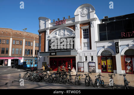 Ritzy Cinema and Bar outside view showing movies films in Brixton South London UK  KATHY DEWITT - Stock Image