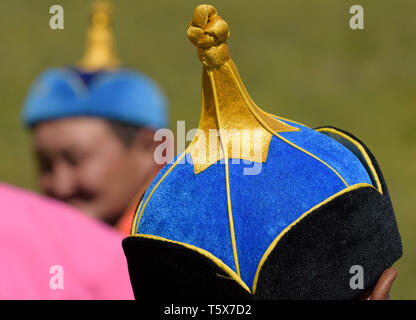Naadam Festival in Khatgal, Mongolia. Hat of a wrestlers coach - Stock Image