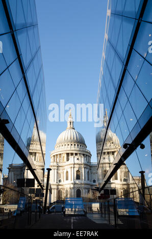 St Paul's Cathedral reflected in the glass of One New Change. City of London, UK - Stock Image