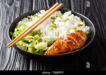 Japanese chicken teriyaki with rice and fresh salad close-up on a plate on the table. horizontal - Stock Image