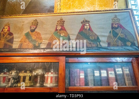 Painting of past emperors and royal figures of Ethiopia within Beata Maryam Church,  resting place of Menelik II and his wife and daughter, Addis Abab - Stock Image