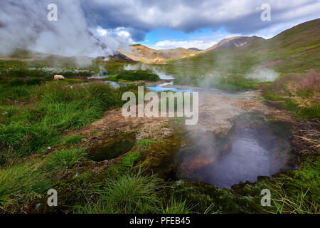 REYKJADALUR, ICELAND.  5TH AUG 2016: Wide angle shot of borehole in Reykjadalur, in the Steam Valley, with steam rising with mountains in the backgrou - Stock Image