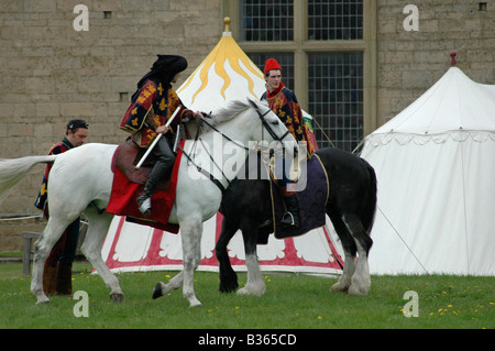 2 squires on horseback - Stock Image