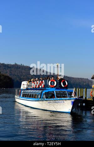 Windermere Lake Cruises,Miss Cumbria, departing from Bowness on Windermere, with a late afternoon cruise on Lake windermere,Lake District,UK - Stock Image