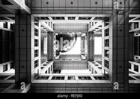 Bottom view on Headquarters of Fuji TV at Odaiba island, Tokyo, Japan - Stock Image