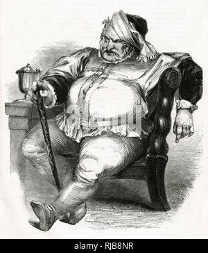 Illustration by Kenny Meadows to The Merry Wives of Windsor, by William Shakespeare. Falstaff during his conversation with Mr Ford, disguised as Mr Brook, who is jealous of Falstaff's interest in his wife. - Stock Image