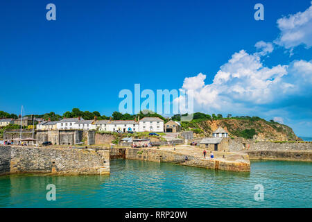 11 June 2018: Charlestown, Cornwall, UK - The village on a summer day. Charlestown is often used in films and television,due to it being unspoiled and - Stock Image