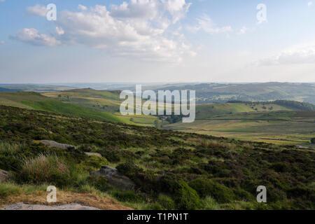 Peak District Moorland, Stanage Edge Derbyshire England UK - Stock Image