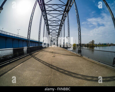 Old Harburger bridge, crossing Elbe river, Hamburg, Germany - Stock Image