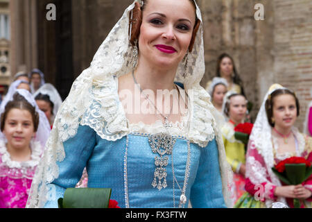 Procession honouring the Holy Lady of Valencia, Valencia Spain - Stock Image