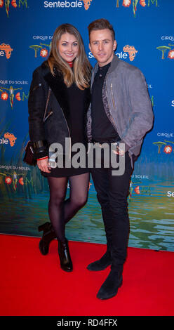 London, United Kingdom. 16 January 2019. Danny Jones arrives for the red carpet premiere of Cirque Du Soleil's 'Totem' held at The Royal Albert Hall. Credit: Peter Manning/Alamy Live News - Stock Image