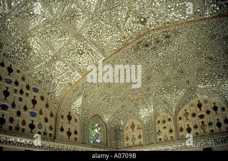 Mirrored Ceiling, Sheesh Mahal, Amber Fort, Rajasthan, India - Stock Image