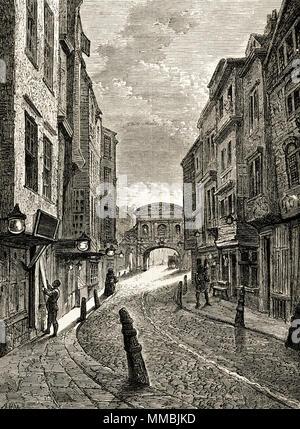 Butcher's Row, London, England, UK in 1800. 19th century Victorian engraving circa 1878 - Stock Image