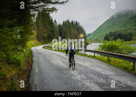 Female cyclist on route 57 close to Sognefjord, Norway - Stock Image