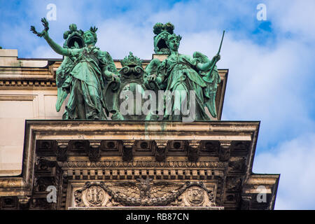Statues on Neue Burg New Castle, which is part of Hofburg Imperial Palace in Vienna. Austria. - Stock Image