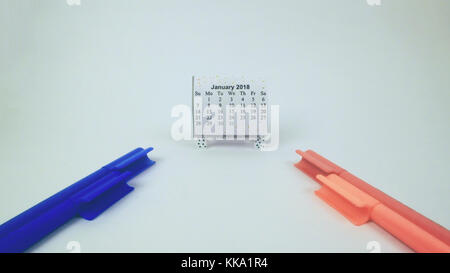 New Year calendar with color sketch representing new year for artists and kids best for writers and bloggers - Stock Image