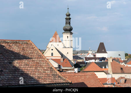 An aerial view of the Minoriten Church (Minoritenkirche), formerly a monastery and now an exhibition centre in Stein an der Donau, Lower Austria - Stock Image