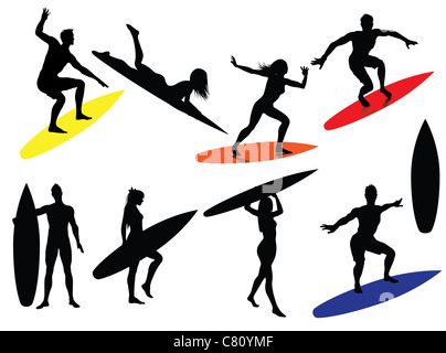 Surfing people Silhouettes - Stock Image