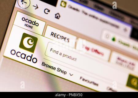 Ocado, Ocado website, Ocado logo, ocado online supermarket, ocado shopping, ocado online shop, online supermarket, website, shopping, groceries, UK - Stock Image